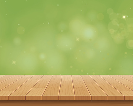 counter top: wood table top on green bokeh vector abstract background