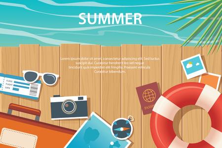 summer and travel flat banner template Banco de Imagens - 58388046