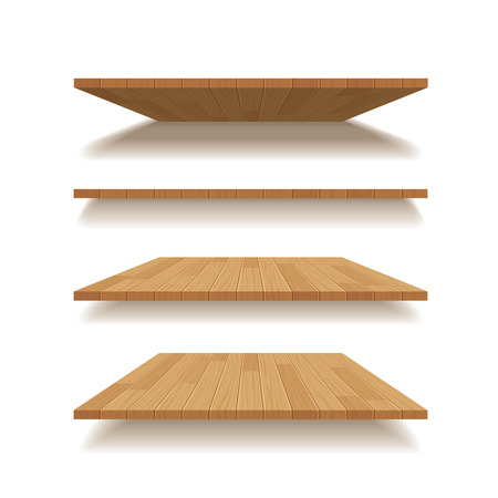 wooden shelf: vector empty wooden shelf isolated background