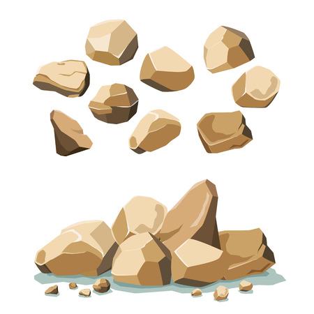 gravel: rock and stone set