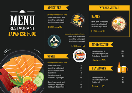 Japans menu food restaurant brochure design template