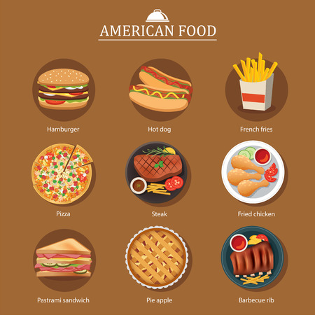 american cuisine: set of american food Illustration