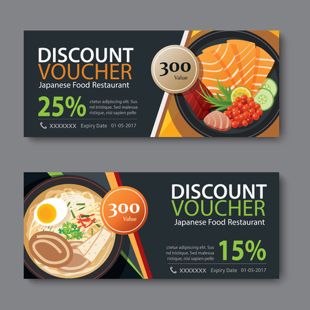 discount voucher template with japanese food flat design Illustration