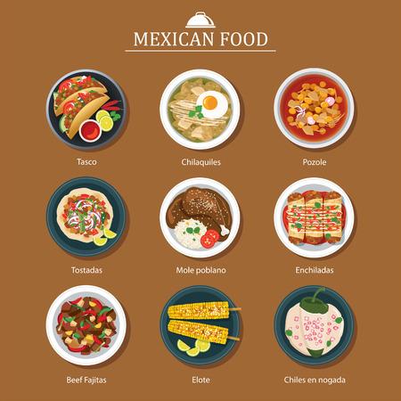 un conjunto de diseño plano comida mexicana