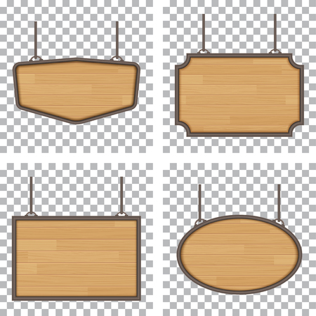 vector  sign: set of vector wooden sign isolated on white background