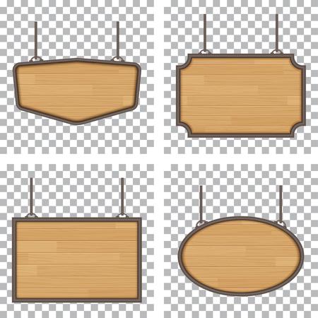 Zestaw wektora drewniane znak na białym tle