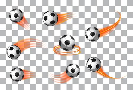 balones de fútbol o icono del fútbol del vector con estelas de movimiento fuego de emblemas deportivos
