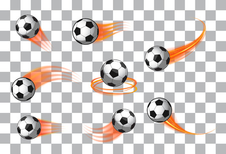 fast foot: soccer balls or football icon vector with fire motion trails for sporting emblems