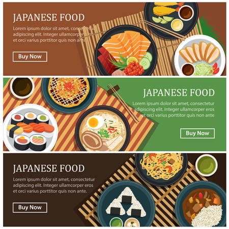 Japanese food web banner.Japanese street food coupon. Vettoriali