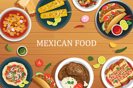 enchiladas: Mexican food on a wooden background.Vector mexican food top view. Illustration