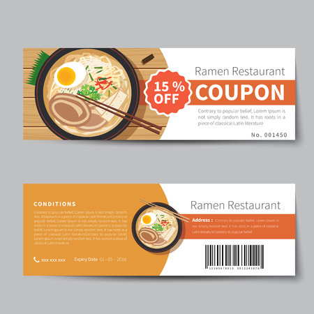 vouchers: japanese food coupon discount template flat design Illustration