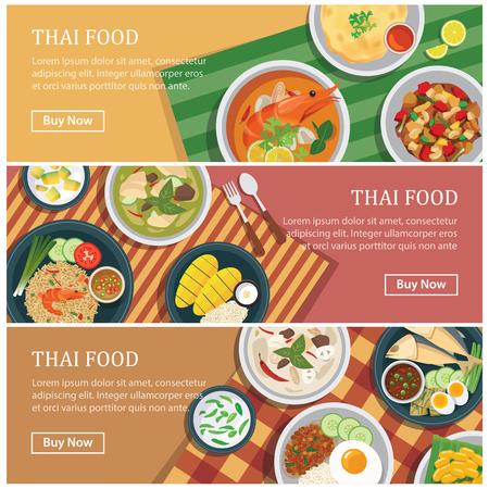 Thai food web banner.Thai street food coupon. Vectores