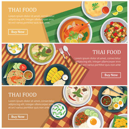 dinner: Thai food web banner.Thai street food coupon. Illustration