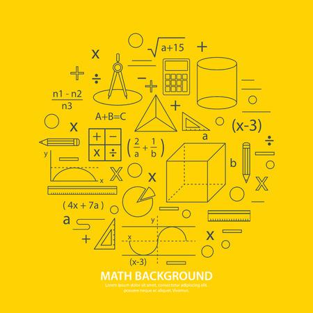 数学のアイコンの背景  イラスト・ベクター素材