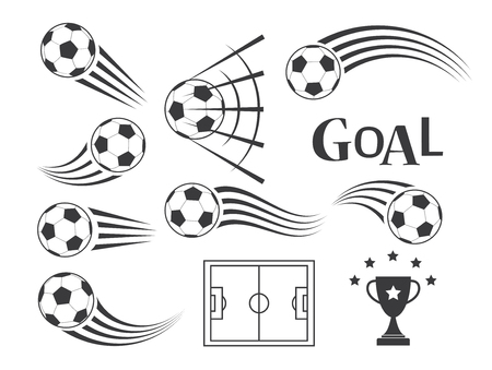 trails: soccer balls or football icon vector with motion trails for sporting emblems Illustration