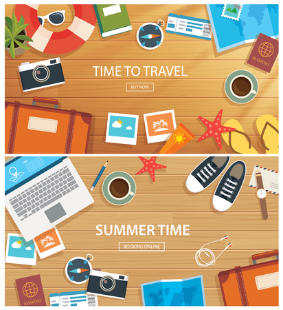 sunset beach: summer and travel flat banner template
