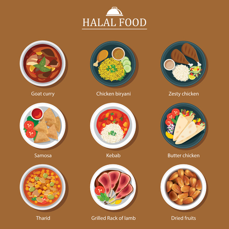 middle eastern food: set of halal food flat design