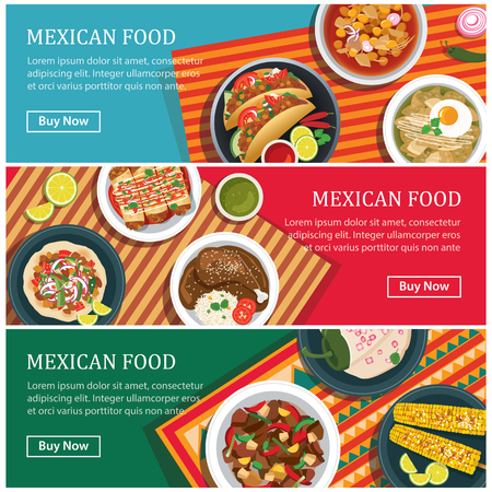 mexican background: mexican food web banner flat design