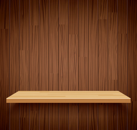wooden shelf: Vector empty wooden shelf background.Empty wood for your product display or montage.