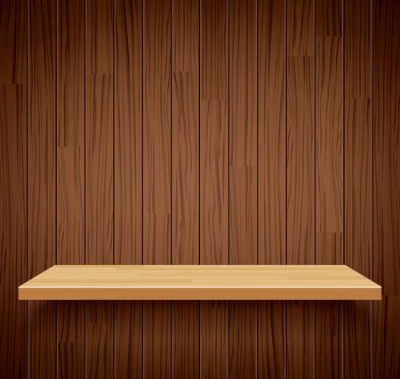 product display: Vector empty wooden shelf background.Empty wood for your product display or montage.