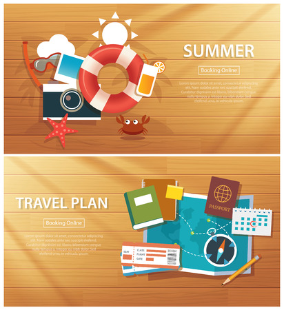 summer and travel flat banner background template