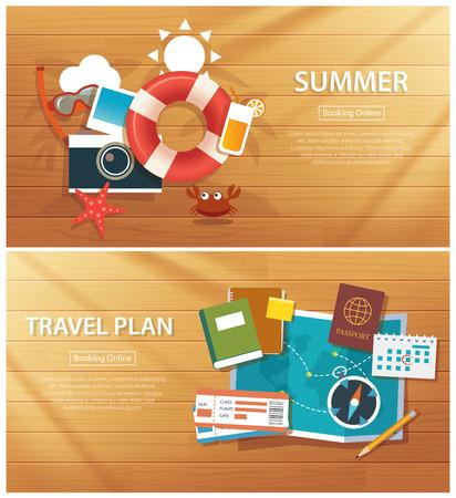 verano y del recorrido de la bandera plantilla de fondo plano Ilustración de vector