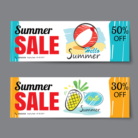 Summer sale voucher template.Discount coupon. Banner hand drawn flat design