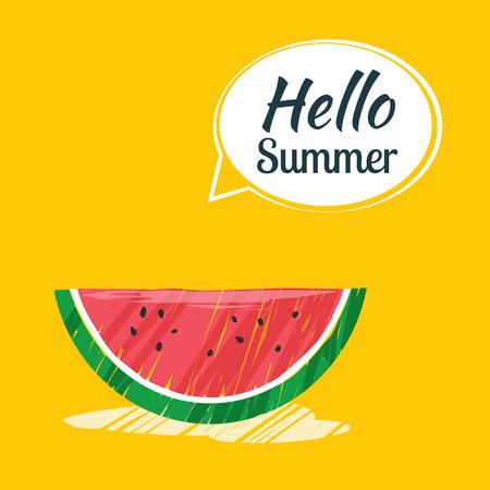 Hand drawing hello summer card. Vetores