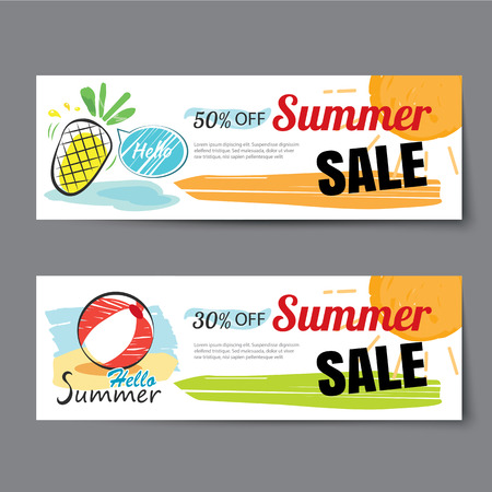 special offer: Summer sale voucher template.Discount coupon. Banner hand drawn flat design