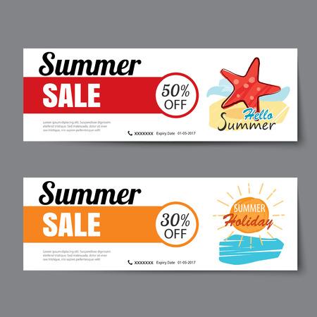 夏季销售优惠券模板。横幅手绘平的设计