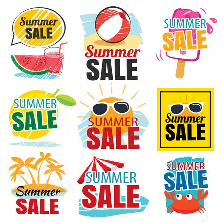 Set bandera de la venta del verano Foto de archivo - 59808224