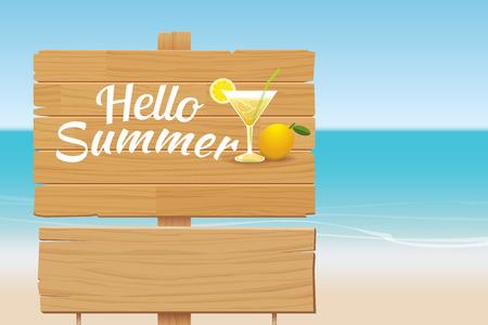 letrero: verano cartel de madera en el fondo playa tropical