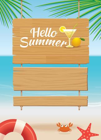 beach: summer wooden sign on tropical beach background