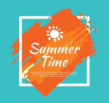 夏天横幅刷子绘画设计模板