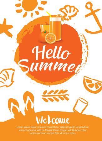 hallo Sommer-Strand-Party-Plakat-Hintergrund-Vorlage