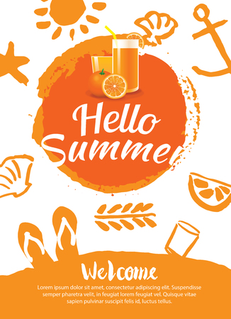 summer beach party: hello summer beach party poster background template
