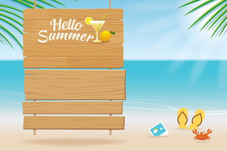 summer sign: summer wooden sign on tropical beach background