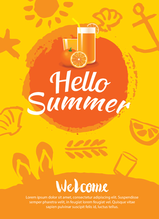 summer drink: hello summer beach party poster background template