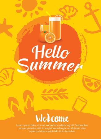 hello zomer beach party poster achtergrond sjabloon Stock Illustratie