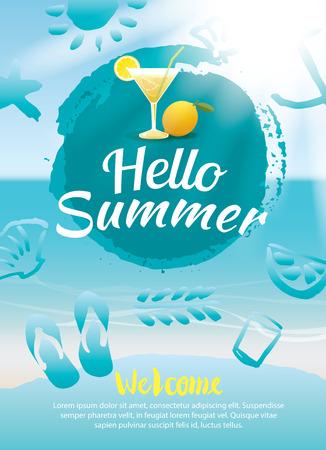 hello zomer beach party poster achtergrond sjabloon Vector Illustratie