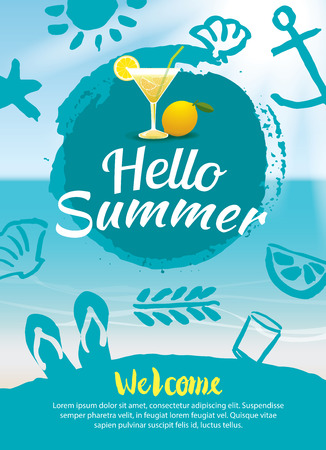 beach ad: hello summer beach party poster background template