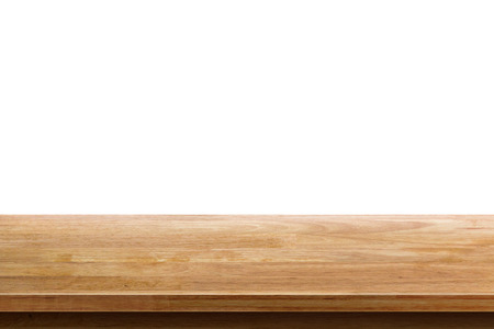 trompo de madera: empty wooden table top isolated on white background, used for display or montage your products