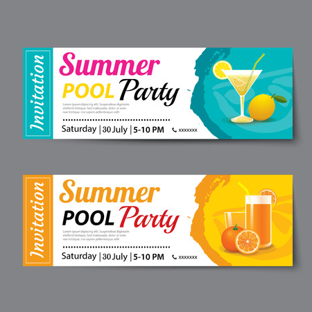 summer pool party ticket template Vectores