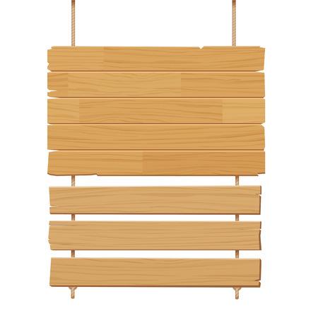 madera rústica: vector de señal de madera aislado en el fondo blanco