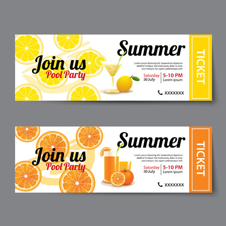 Summer Pool Party Ticket Template Vector  Party Ticket Template