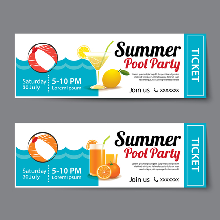 summer pool party ticket template Vettoriali