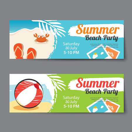 summer pool party ticket template 일러스트