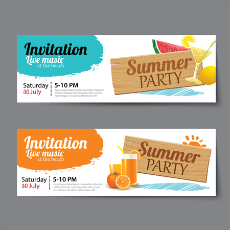 summer pool party ticket template Иллюстрация