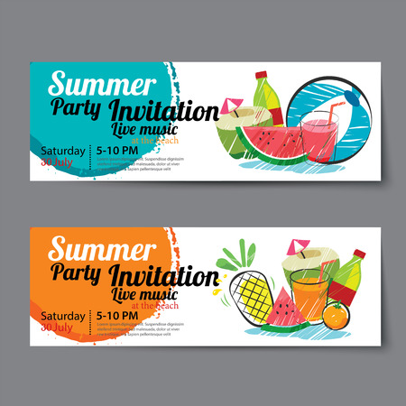 summer pool party ticket template 向量圖像