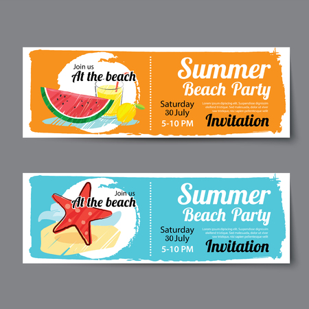 summer pool party ticket template Stock Illustratie